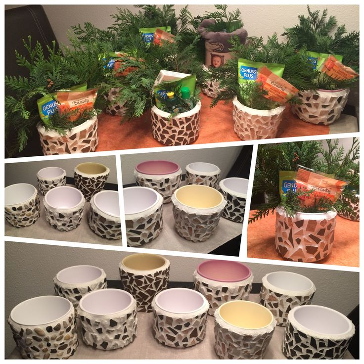 Geschenk / Blumentöpfe gefüllt / Weihnachten / Mosaik / Fliesenreste / Fugenmasse / Übertopf selber gestalten