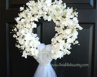 matrimonio corona-primavera ghirlanda-anteriore porta ghirlande di corone-all'aperto bianco velo avorio paese francese matrimoni, arredamento