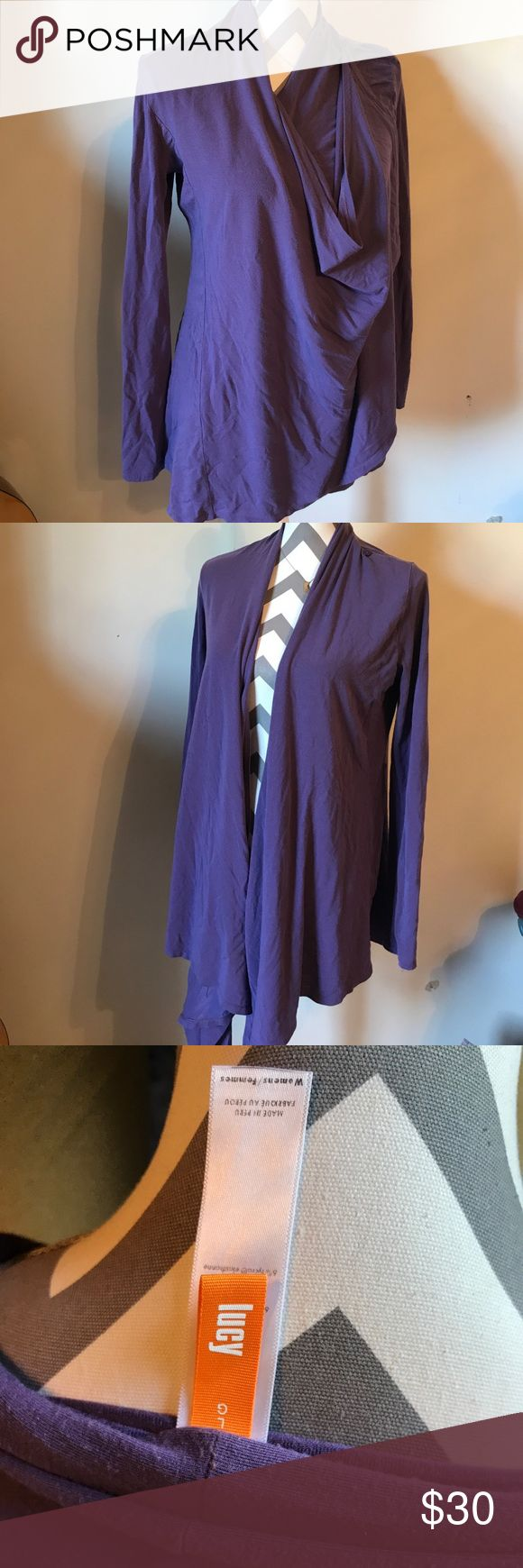 Lucy athletic apparel Purple long sleeve draped cover up. Buttons on the side. Perfect for yoga. Lucy Jackets & Coats