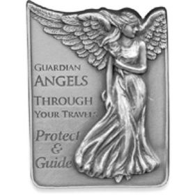 """This angelic Guardian Angel visor clip makes a great gift and attaches to your car visor to bring protection & safe travels wherever you may drive. Comes with a beautiful message: """"Guardian Angels through your travels protect and guide"""""""