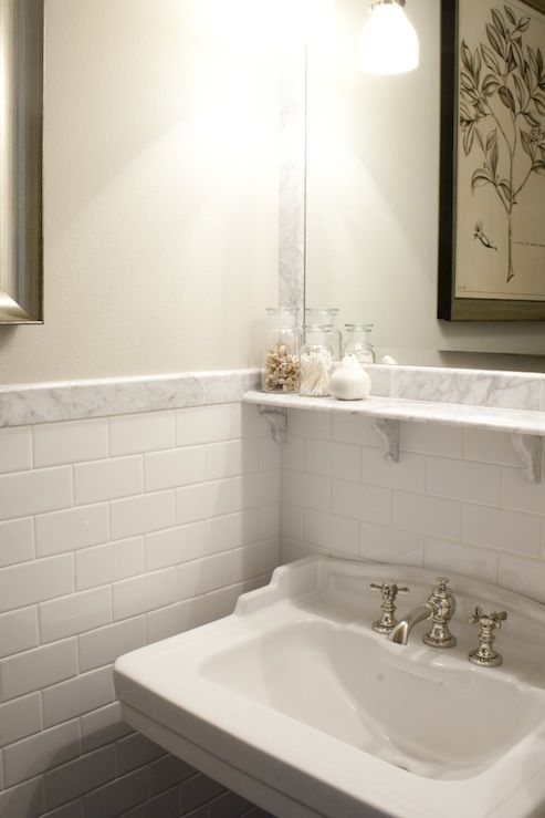 Tiek Built Homes - bathrooms - subway tiles, subway tile backsplash, white subway tile, subway tile bathroom, white subway tile backsplash, white subway tile bathroom, subway tiles backsplash, bathroom shelf, marble shelf, white marble shelf, vintage faucet, vintage bathroom faucet,