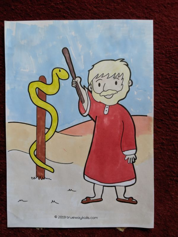 Moses And The Bronze Snake Coloured By Pen Coloring Page Free