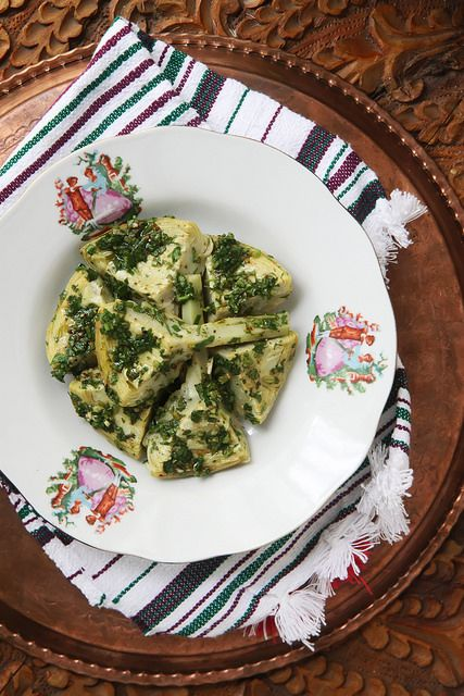Steamed Artichoke with Chermoula by Olga Irez of Delicious Istanbul