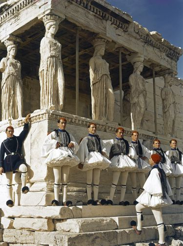 B. ANTHONY STEWART, Members of the Presidential Guard stand at the Acropolis. The Acropolis, Athens, Greece. National Geographic Creative