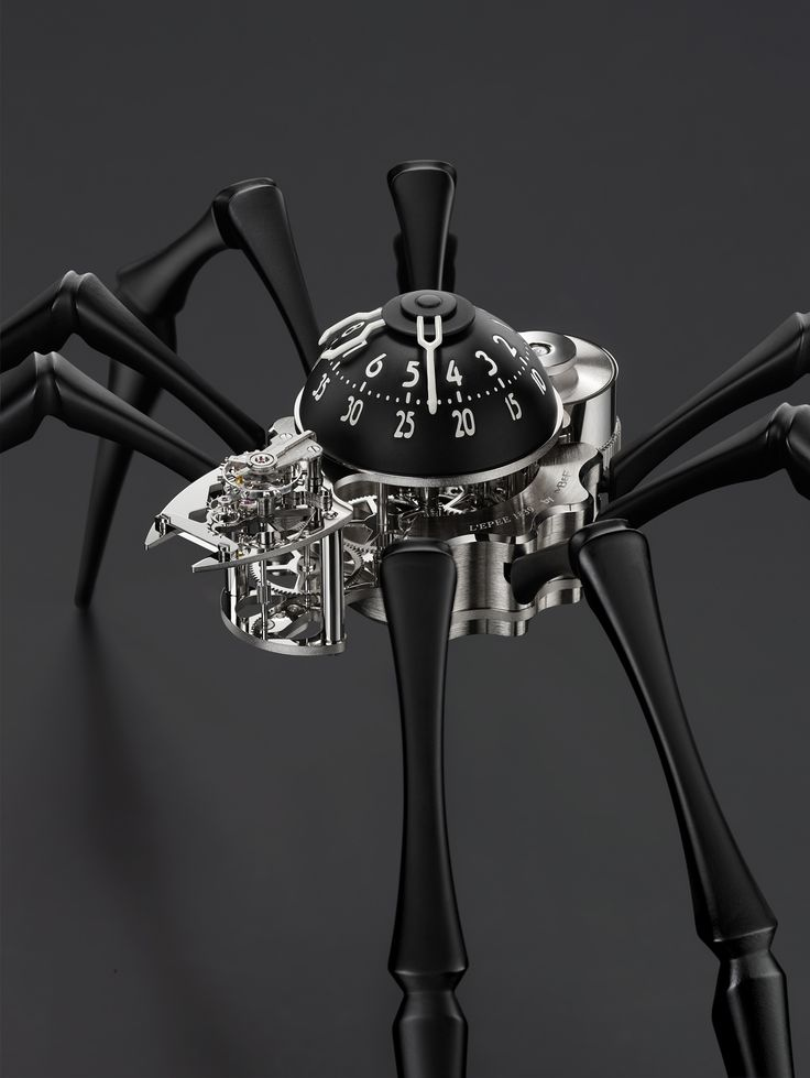 ARACHNOPHOBIA: the world's first mechanical table clock to tell time with 2 hands and 8 legs.
