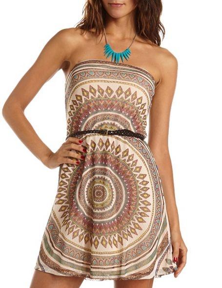 Belted Tribal Mesh Tube Dress: Charlotte Russe