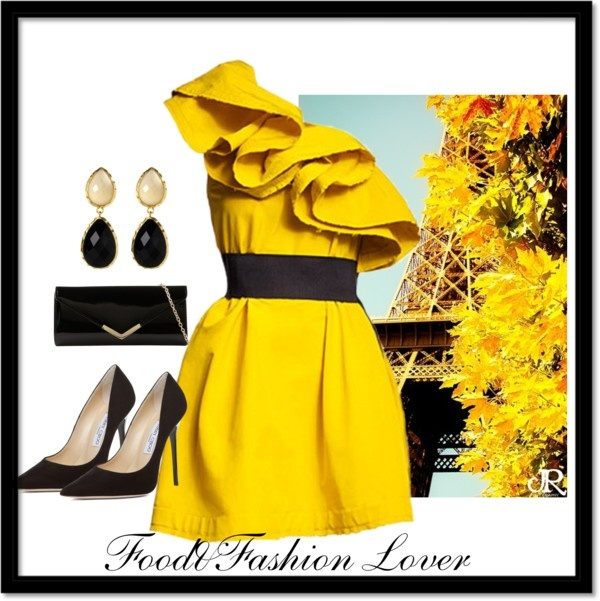 """yellow dress"" by homeyyomey on Polyvore"