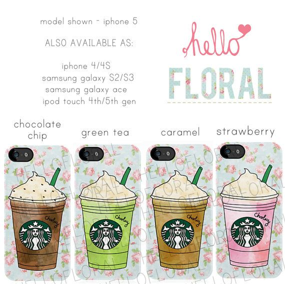 Personalised Starbucks Frappuccino floral girly iPhone 4/4S 5 5c 5s Samsung Galaxy S2 S3 S4 Ace iPod Touch 4th 5th hard case on Etsy, $25.29