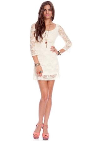 Go Out with Flare Lace Dress in Ivory :: tobi