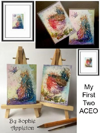 """View the 'gallery ACEO' page of www.sixfootsophie.co.uk ACEO hand painted artist trading cards for collectors by Sophie Appleton (miniature painting 3.5""""x2.5"""")"""