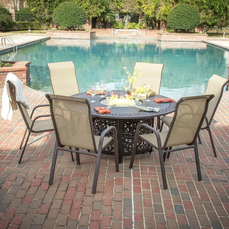 Lakeview Outdoor Designs Madison Bay 6 Person Sling Patio Dining Set With Fire  Pit Table By Lakeview Outdoor Designs