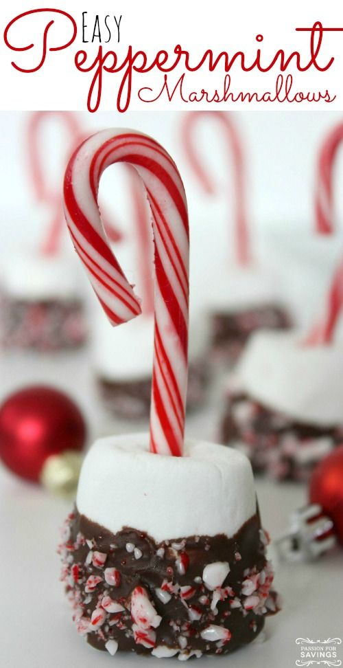 Easy Peppermint Marshmallow Treats! Christmas Recipes or Bite Size Desserts!