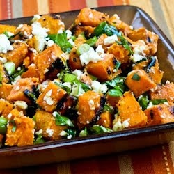 Kalyn's Kitchen: Recipe for Grilled Sweet Potato Salad with Green Onion, Basil, Thyme, and Feta