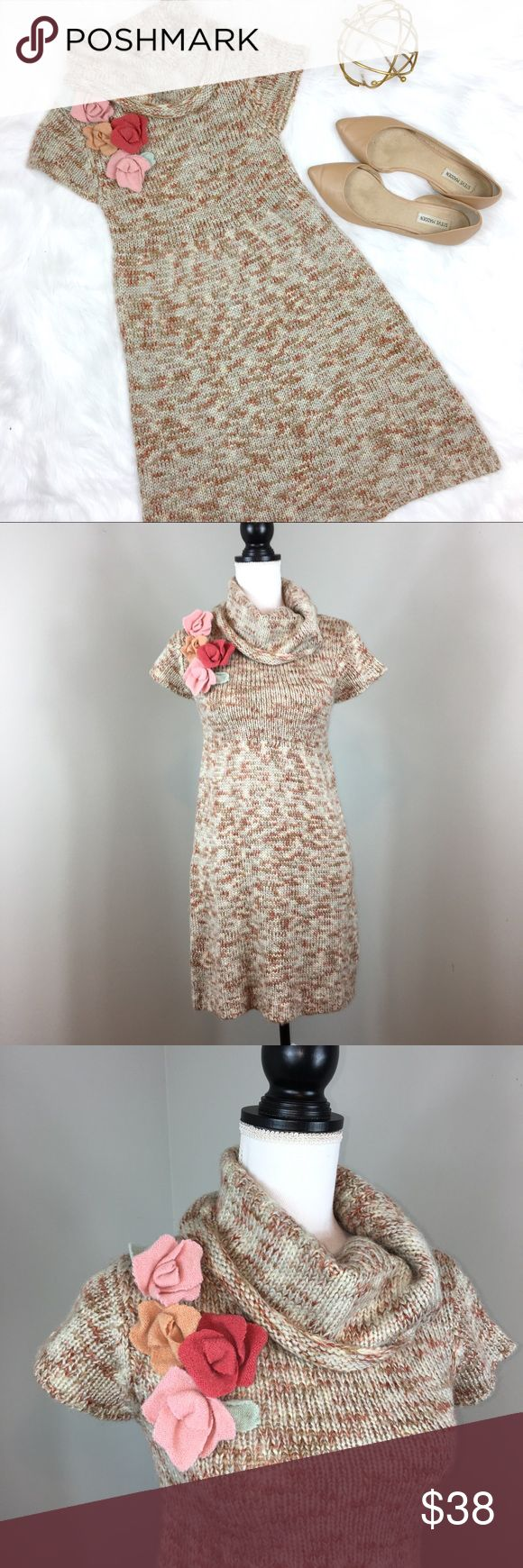 Judith March Sweater Corp Neck Dress Judith March Sweater Cowl Neck Dress. Size small. Approximate measurements flat laid are 34' long and 13' bust. Could fit an extra small as well as a small in my opinion. Good used condition. Very cute flower detail on right shoulder. ❌I do not Trade 🙅🏻 Or model💲 Posh Transactions ONLY Judith March Dresses Mini