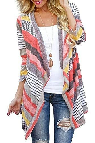 dbe3fe4920ade Euovmy Women s 3 4 Sleeve Cardigans Striped Printed Open Front Draped Kimono  Loose Cardigan Red Medium - BoutiquebyBombshell