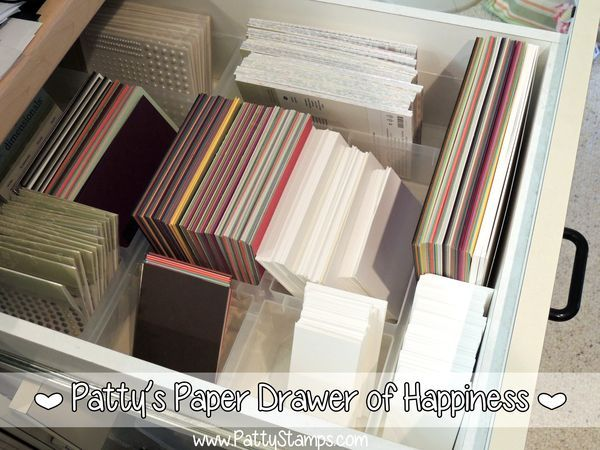 Cardstock Organizing Tip for card making.. have a drawer of 1/2 sheets and 1/4 sheets ready to go.. makes card making so much easier! by Patty Bennett #pattystamps #stampinup