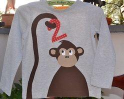 *Geburtstagsshirt mit Affe, 2, Zahlenshirt*