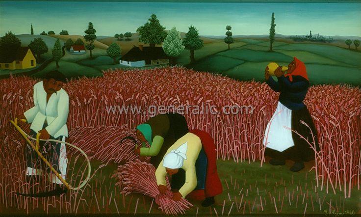 Mowing the hay, oil on glass, Ivan Generalic
