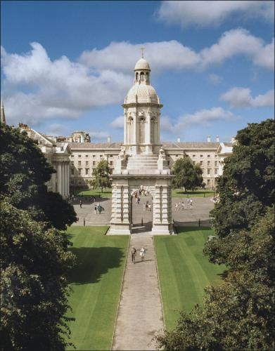 Trinity College, Dublin, Ireland. Founded 1592 by Elizabeth I. Houses the Book of Kells.