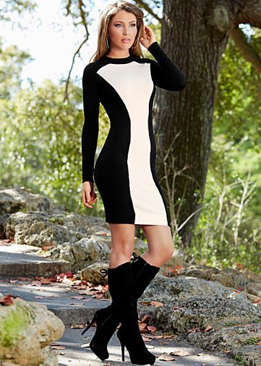 Black and white color block sweater dress with black tie back boot (boot also available in brown)