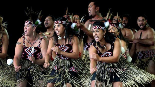 Te Kapa Haka o Te Whanau a Apanui perform in the Te Matatini National Kapa Haka Festival, New Zealand