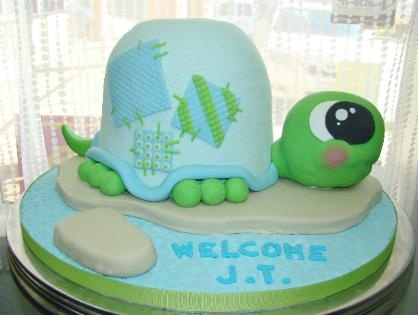 I want this for my baby shower one day....quilted turtle baby shower cake