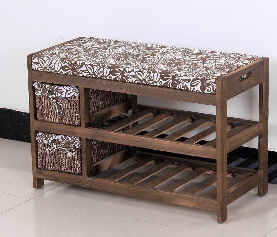 Sapato de madeira banco com dois cesta de armazenamento Paulownia madeira maciça Rack de móveis da sala estilo japonês sapato banco prateleira(China (Mainland))