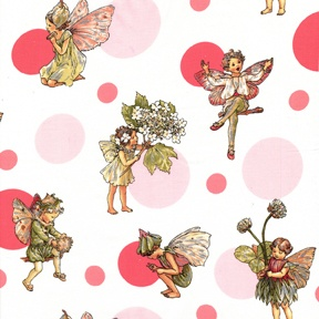 classy fairy fabric - even has a little shimmer on the fairies wings.  I love the crisp white background.