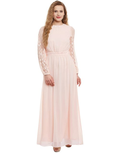 84244b74a96 Buy Athena Women Pink Solid Maxi Dress - Dresses for Women 1907092 ...
