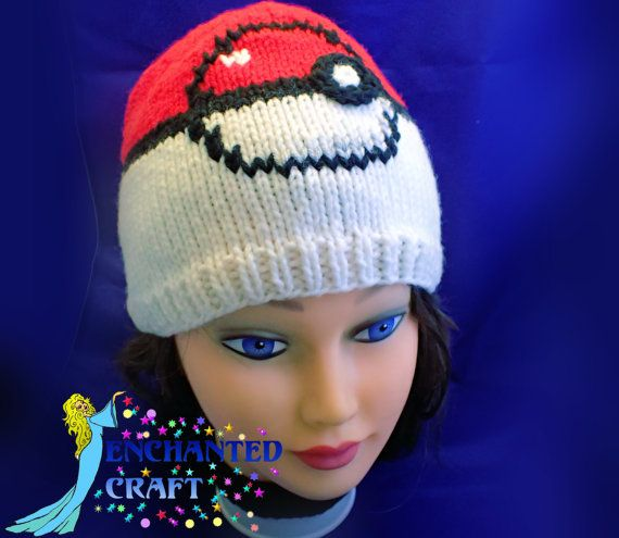 NEW hand Knitted POKEMON Beanie Hat with smooth by EnchantedCraft