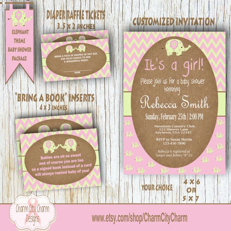 68 best BABY SHOWER INVITATIONS images on Pinterest | Elephant baby ...