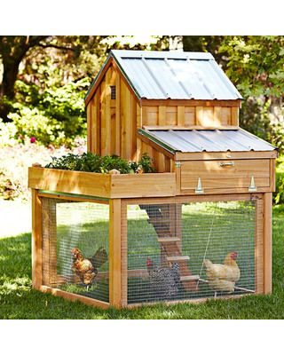 Cedar Chicken Coop and Run with Planter