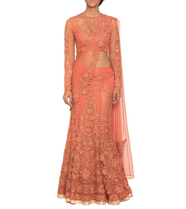 Coral Lehenga Saree With A Stitched Blouse by Ritu Kumar