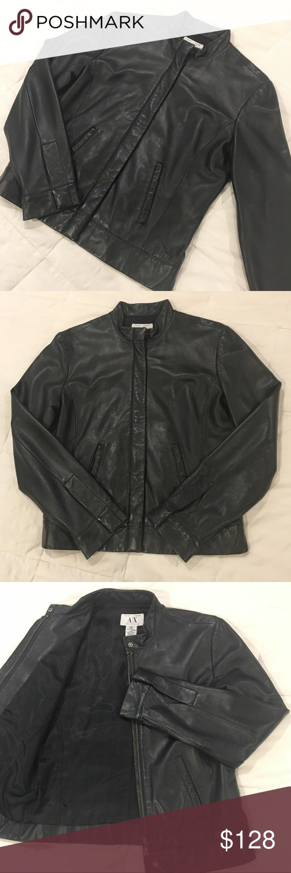 Armani Exchange Collarless Leather Jacket Gently worn black leather jacket, doesn't have any flaws. The quality is unmatched and will last forever. It's soft leather and not worn anywhere! Armani Exchange Jackets & Coats