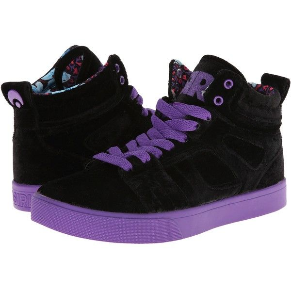 Osiris Raider Women's Skate Shoes, Black ($43) ❤ liked on Polyvore featuring shoes, black, osiris shoes, lightweight shoes, black lace up shoes, high top skate shoes and black hi tops