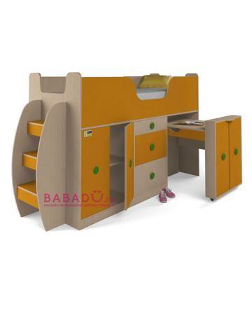 UFOkids 80x200 см со шкафом и столом Флайя  — 17655р. ---------- Кровать-чердак 80x200 см со шкафом и столом Флайя UFOkids - функциональное рабочее место для дошкольника или школьника. Есть шкаф с полками и письменный стол.