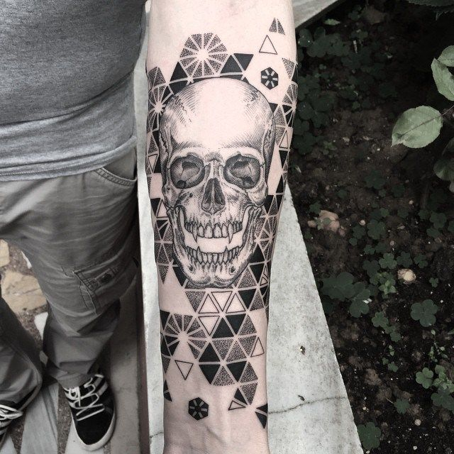 Geometry Pattern Background Skull Tattoo