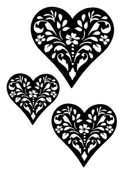 """8.3/11.7"""" Vintage design heart stencil and templates 2 (3 hearts).  A4."""