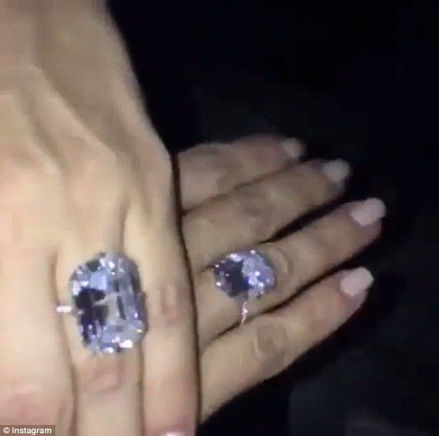 Sparing now expense: The Yeezus rapper's gift closely resembles the original engagement band he gave his wife back in 2013 - the massive 15 carat Lorraine Schwartz design