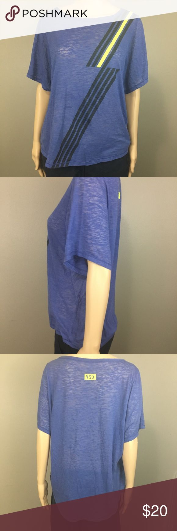 """VS sport medium exercise tee. VS sport medium exercise tee.  Approx flat lay measurements: 24-26"""" long, 18.5"""" waist & 9.5"""" dolman batwing sleeve. Periwinkle with black and neon yellow accent.  ** a few holes and a stain on the front as seen in pictures.  *** See photos for material content and care instructions.*** ✔️ I consider all offers. ✔️ I love bundles: I offer a bundle discount.  ✔️Smoke and pet free home.  🚫 no trades.  🚫 no paypal. Victoria's Secret Tops Tees - Short Sleeve"""