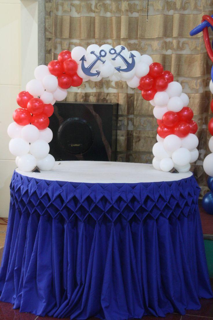 Anchor cake arch balloon decor pinterest anchor for Anchor balloon decoration