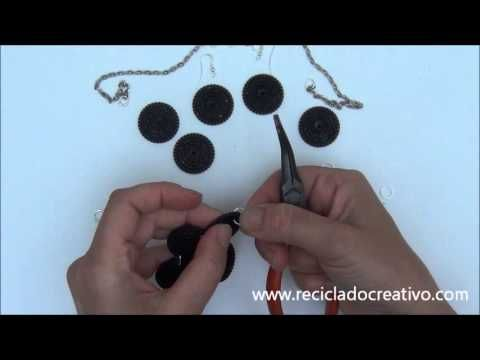 Necklace made with recycled black filters Dolce Gusto Capsules)   Collar...