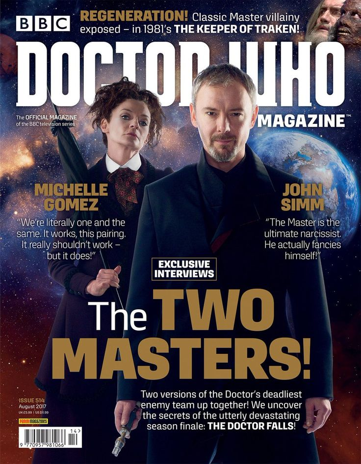 Doctor Who Magazine‏ @DWMtweets There's a new issue of Doctor Who Magazine out later this week - with TWO Masters included inside! Here's a first look at the front cover!