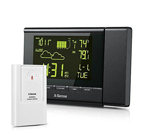 X-Sense Wetterstation Temperaturstation mit Projektionsuhr & 2 Wecker f�r Innen und Au�en (Schwarz)