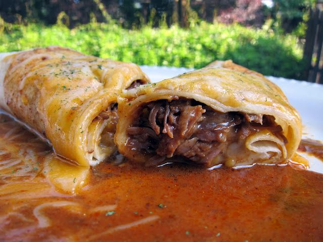 Oh. My. Gosh!... Chile Colorado Burritos 2 lb stew meat 1/2 c tomato sauce 1 Tbsp Knorr's Caldo de Tomate 1/2 tsp garlic powder 3 T chili powder 3 T all-purpose flour 2 c chicken broth flour tortillas & shredded cheese Make enchilada sauce. Place stew meat in 6-quart slow cooker. Cover with enchilada sauce. Cook on low for 8 hours. Shred beef.