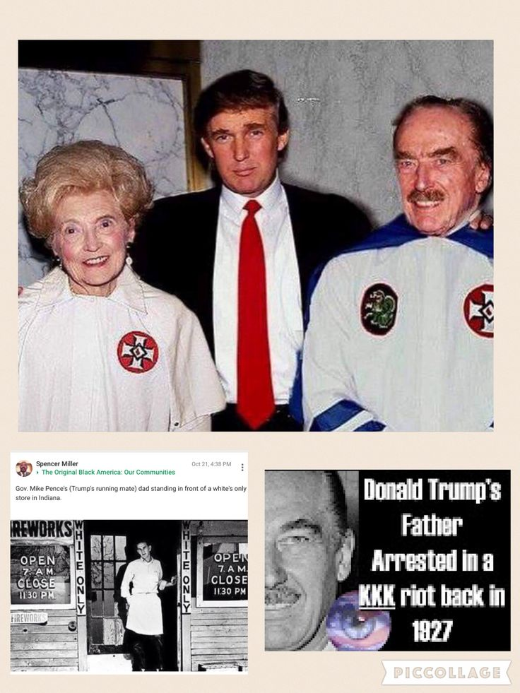 """Trump and Pence have a lot more in common than you think. Both of them had Racist Pigs as fathers. The top photo explains why Trump has """"Embraced"""" today's Hateful KKK....his mother and father instilled BIGOTRY and RACISM in him which means he has no use for Jews, Blacks, Hispanics or Muslims. Trumps World."""