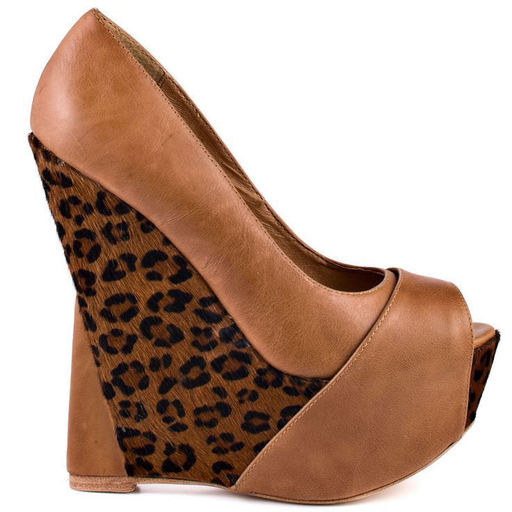 Leopard Suedette peep toe high wedge heel court shoes HML13FwLK