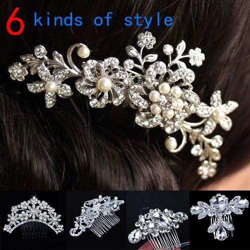 Vrouwen Meisjes Bruids Zilveren Crystal Rhinestone Diamante Bloem Haar Clip Kam Pin Kleding Accessoires Hoofddeksels Kammen