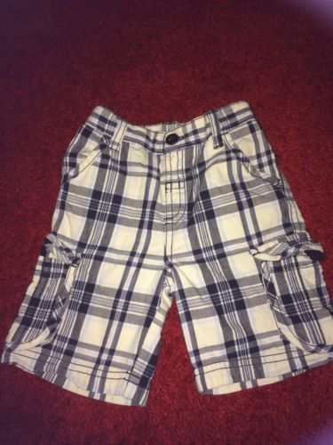 Boys Matalan 12-18 Months White And Blue Checked Long Shorts #kidswear
