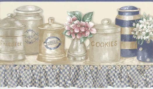 Collectibles on a Kitchen Shelf Wallpaper Border Wallpaper